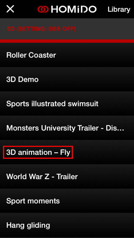HOMiDOで3Dアニメーション「飛ぶ」を選択